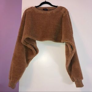 Nasty Gal Sweaters - Nasty Gal Cropped Faux Fur Sweater